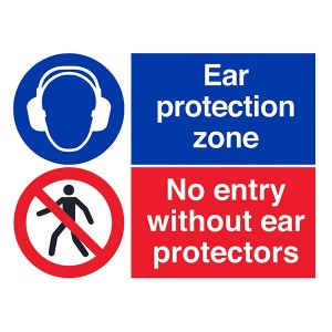 Ear Protection Zone / No Entry Without Ear Protectors - Landscape - Large