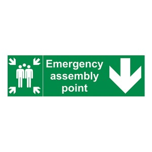 Emergency Assembly Point Family Arrow Down - Landscape