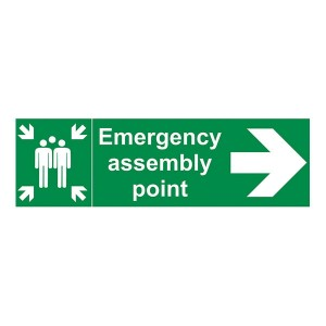 Emergency Assembly Point Family Arrow Right - Landscape
