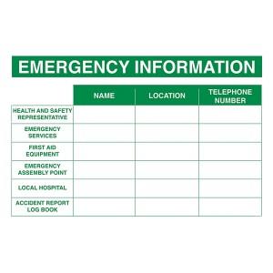 Emergency Information - Landscape - Large