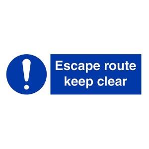 Escape Route Keep Clear - Landscape