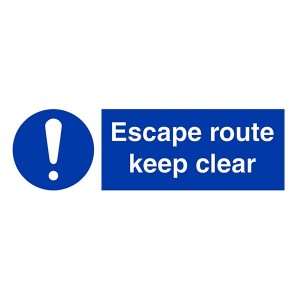Escape Route Keep Clear - Landscape