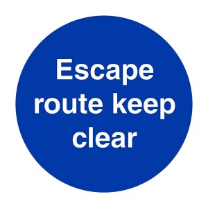 Escape Route Keep Clear - Square