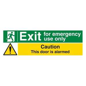 Exit For Emergency Use Only / Caution This Door Is Alarmed - Landscape