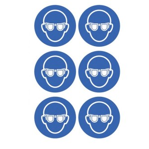 Eye Protection Symbol Stickers - Circular