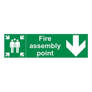 Fire Assembly Point - Arrow Down - Landscape