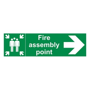 Fire Assembly Point - Arrow Right - Landscape