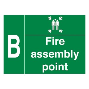 Fire Assembly Point - With Family And Letter B - Landscape - Large