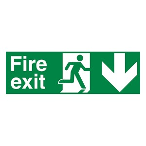 Fire Exit Arrow Down - Landscape