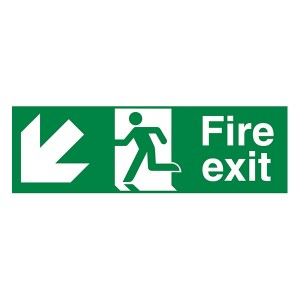 Fire Exit Arrow Down Left - Landscape
