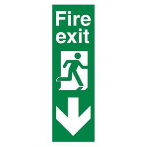 Fire Exit Arrow Down - Portrait