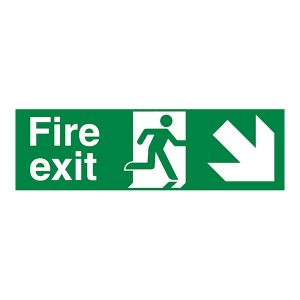 Fire Exit Arrow Down Right - Landscape