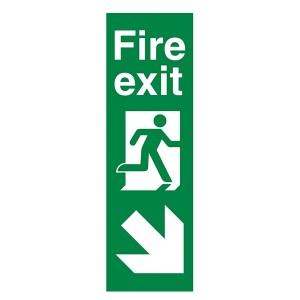 Fire Exit Arrow Down Right - Portrait