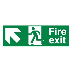 Fire Exit Arrow Up Left - Landscape