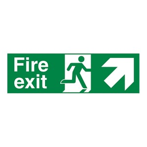 Fire Exit Arrow Up Right - Landscape