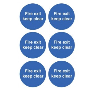 Fire Exit Keep Clear Stickers - Circular
