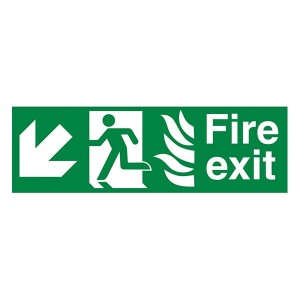 NHS Fire Exit Man Left Arrow Down Left - Landscape