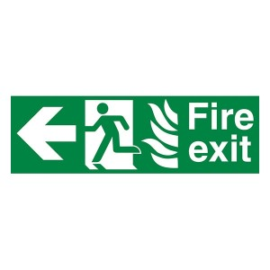 NHS Fire Exit Man Left Arrow Left - Landscape
