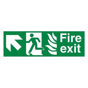 NHS Fire Exit Man Right Arrow Up Left - Landscape