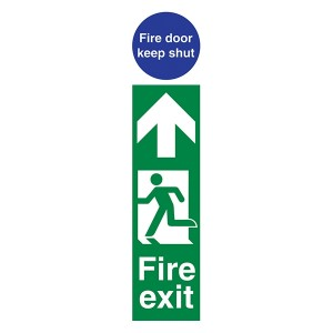 Fire Exit Man Left / Fire Door Keep Shut - Portrait