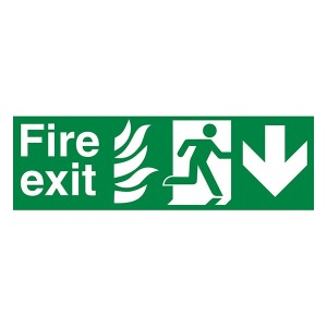 NHS Fire Exit Man Right Arrow Down - Landscape