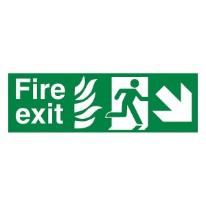 NHS Fire Exit Man Right Arrow Down Right - Landscape