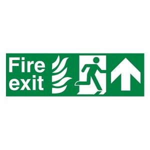 NHS Fire Exit Man Right Arrow Up - Landscape
