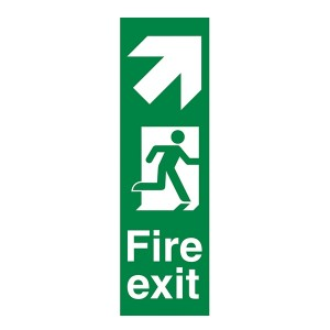 Fire Exit Arrow Up Right - Portrait
