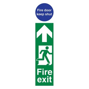 Fire Exit Man Right / Fire Door Keep Shut - Portrait