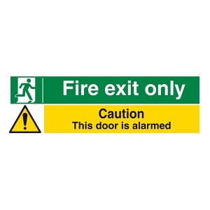 Fire Exit Only / Caution This Door Is Alarmed - Landscape