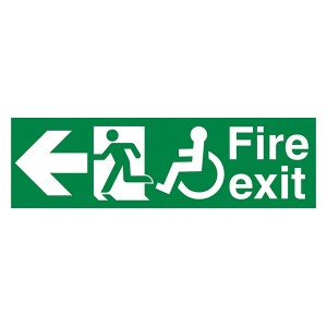 Fire Exit Wheel Chair Man Left Arrow Left - Landscape