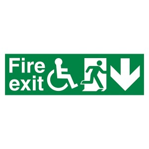 Fire Exit Wheel Chair Man Right Arrow Down - Landscape
