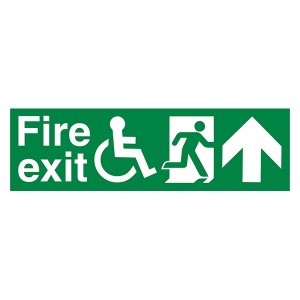 Fire Exit Wheel Chair Man Right Arrow Up - Landscape