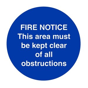 Fire Notice - This Area Must Be Kept Clear Of All Obstructions - Square