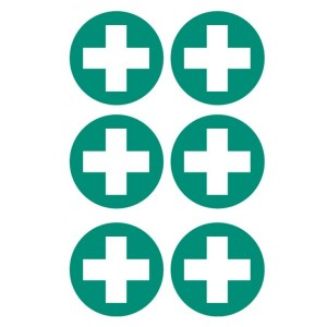 First Aid Cross Stickers - Circular