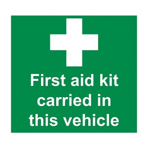 First Aid Kit Carried In This Vehicle - Square
