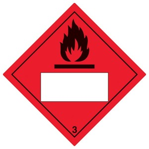 Flammable 3 UN Substance Numbering - Red - Diamond - Square