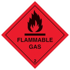 Flammable Gas Symbol - Red - Diamond - Square