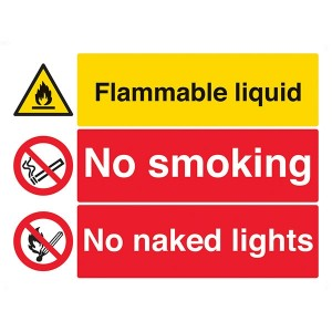Flammable Liquid / No Smoking / No Naked Lights - Landscape - Large