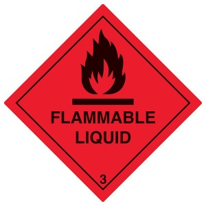 Flammable Liquid Symbol - Red - Diamond - Square