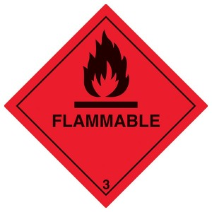 Flammable Symbol - Red - Diamond - Square