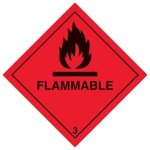 Flammable Symbol - Red - Diamond - Square