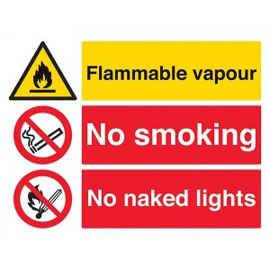 Flammable Vapour / No Smoking / No Naked Lights - Landscape - Large