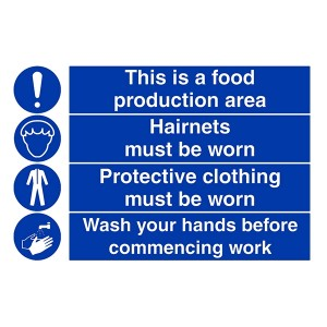 Food Production Area / Hairnets / Protective Clothing /  Wash Hands - Landscape - Large