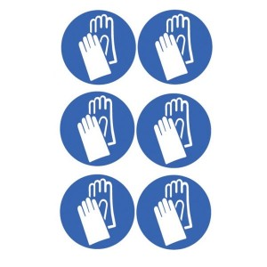 Hand Protection Symbol Stickers - Circular