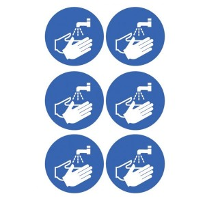 Hand Washing Symbol Stickers - Circular