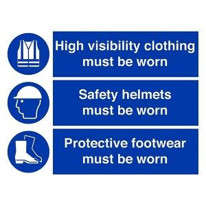 High Visibility / Safety Helmets / Protective Footwear Must Be Worn - Landscape - Large