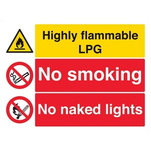 Highly Flammable LPG / No Smoking / No Naked Lights - Landscape - Large