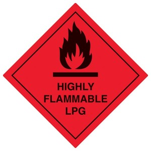Highly Flammable LPG - Red - Diamond - Square