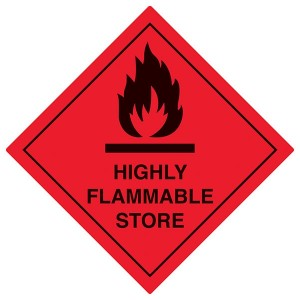 Highly Flammable Store - Red - Diamond - Square
